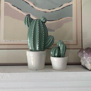 Ceramic Cactus Pair •